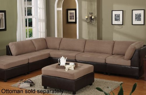 5 pcs Sectional Sofa Set with Contemporary Style Design in Saddle