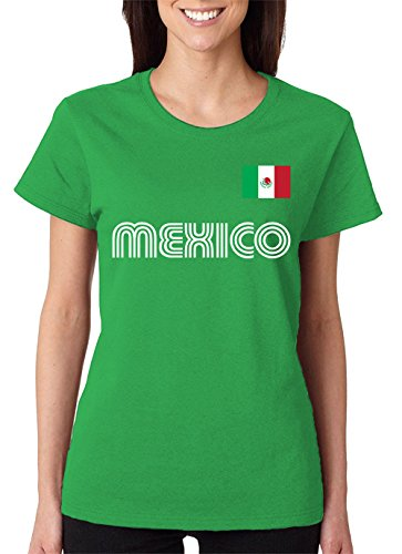SpiritForged Apparel Mexico Soccer Jersey Women's T-Shirt, Kelly Large