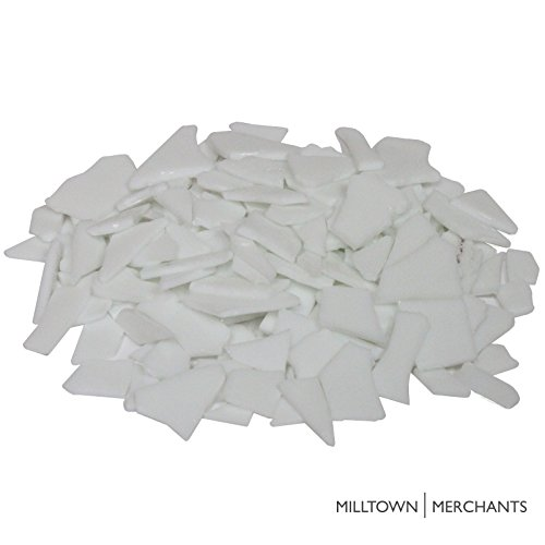Milltown Merchants™ White Stained Glass Pieces 1 lb - Opaque Stained Glass Cobbles - Broken Glass Chips for Stepping Stones and Crafts - Bright Color Glass - Stained Glass Mosaic Tiles Chips
