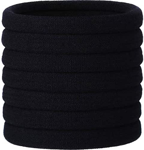 eBoot 20 Pieces Large Stretch Hair Ties Hair Bands Ponytail Holders Headband for Thick Heavy and Curly Hair (Black, 5 cm in Diameter, 1 cm in Width)