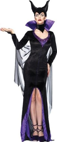 Leg Avenue Women's Disney 3Pc. Maleficent Costume Dress and Head Piece, Black, Small (Sexy Adult Disney Princess Costumes)