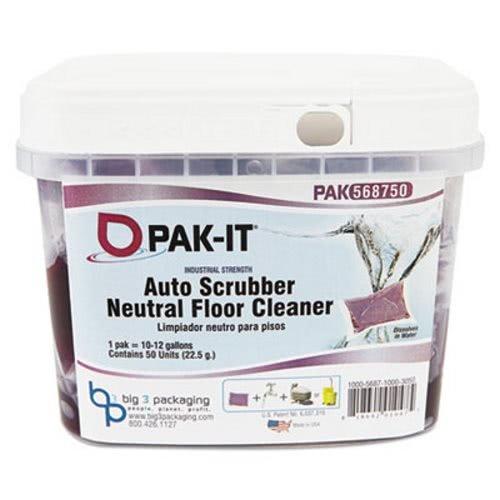 - PAK-IT 568720003200 Auto-Scrubber Neutral Floor Cleaner, Citrus Scent, 50/Tub