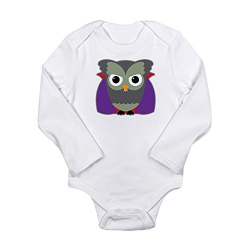Truly Teague Long Sleeve Infant Bodysuit Spooky Little Owl Vampire Monster - Cloud White, 18 To 24 Months -