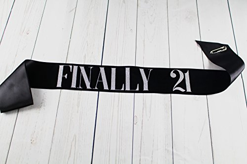 BLACK-Satin-Birthday-Sash-FINALLY-21-w-SILVER-Glitter-encased-in-letters-FINALLY-21-21st-Birthday-Party-by-Dulcet-Downtown