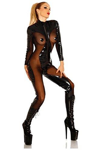 Lorembelle Sexy Lingerie Pvc Latex Bodysuit Sheer Catsuit Open Cup Costume Plus Size S- XL (M /US 2, (Black Latex Bodysuit Costume)