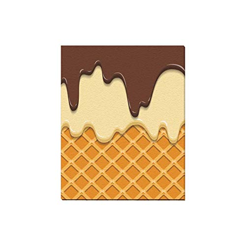 - InterestPrint Cute Cartoon Waffle Cone with Ice Cream and Chocolate Wooden Frame Modern Canvas Prints Painting Wall Art Pictures for Home Decoration Wall Decor, 16 x 20 Inches