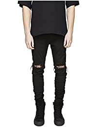 Men's Ripped Slim Fit Skinny Destroyed Distressed Tapered Leg Jeans