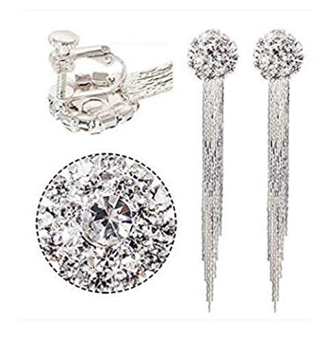 Generic Fashion Elegant Women Bridal Silver Non-Pierced Clip on Tassel Dangle Earrings