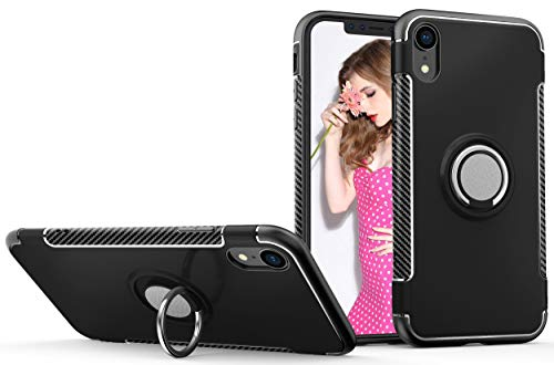 iPhone XR Case,Sunnyw [Shockproof&Scratchproof] [Soft TPU& Hard PC],Slim Dual Layer Armor [360 Degree Rotating Ring Kickstand] Protective Case for Apple iPhone XR 6.1 inch (Black)