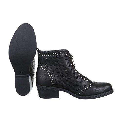 Ital-Design Damen Schuhe, B8110, Stiefeletten Perforierte Boots Schwarz