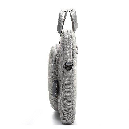 COOLBELL® Maletín Protector para Ordenadores Portátiles Tablet PC de 15.6 pulgadas, (Forro de Lana, Relleno de Esponja), Bolso Mensajero Bandolera Mujer Hombre para Casual Calle Viaje, para llevar App gris