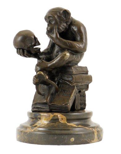Bronze Statue - Ape with Skull / Philosophizing Monkey - Wolfgang Hugo Rheinhold ()