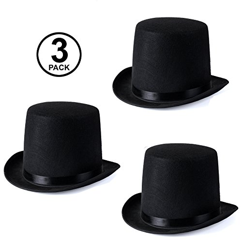 Funny Party Hats Black Felt Top Costume Magician Hats (3 Pack)