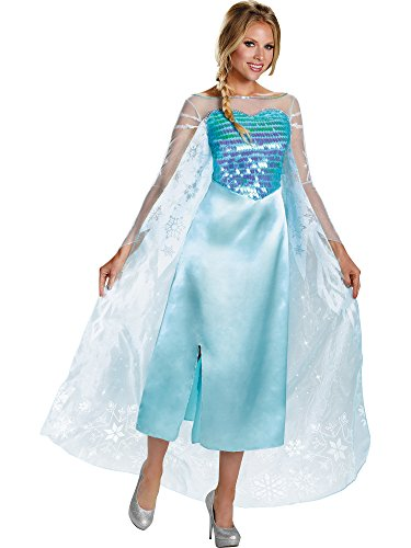Disguise Women's Disney Frozen Elsa Deluxe Costume, Light Blue, Large/12-14 -