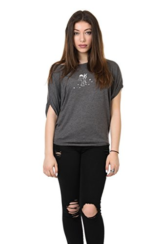 corte T shirt maniche stampa da con donna a a grigia grigie foglie xw1qnSa