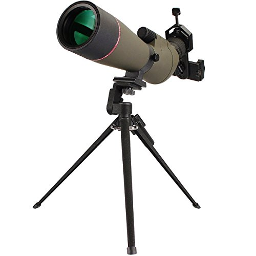SVBONY 20-60x65mm Outdoor Shooting Hunting Spotting Scopes Bak4 Bird Watching Scope Telescope Magnification FMC Green Film Objective Lens with Tripod