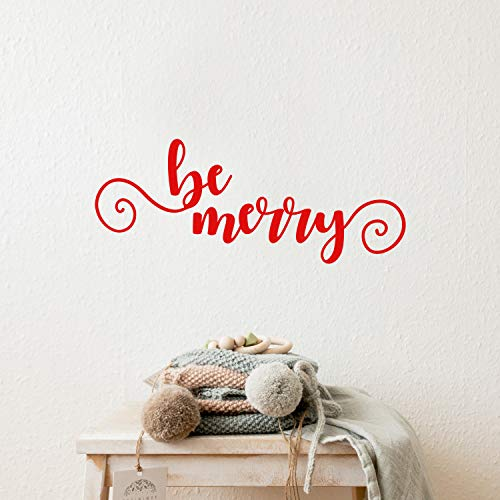 Vinyl Wall Art Decal - Be Merry - 9 x 22.5 - Cursive Christmas Seasonal Holiday Decoration Sticker - Indoor Outdoor Home Office Wall Window Door Decoration Adhesive Decals (9 x 22.5, Red)