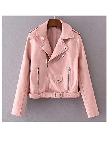 Pragmaticv Artificial Leather Jackets Autumn Street Short Washed PU Jacket Zipper Basic Jackets Slim Fit Women Coats Outwear Light Pink