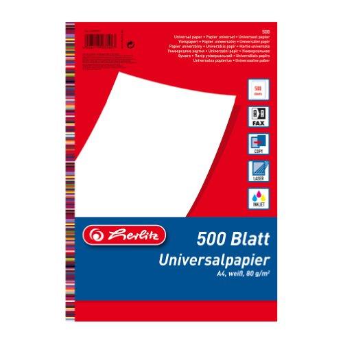 Herlitz 5033402 Universalpapier A4 80g, 500 Blatt weiss, holzfrei