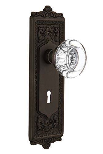 Nostalgic Warehouse Egg & Dart Plate with Keyhole Round Clear Crystal Glass Knob, Passage - 2.375'', Oil Rubbed Bronze by Nostalgic Warehouse