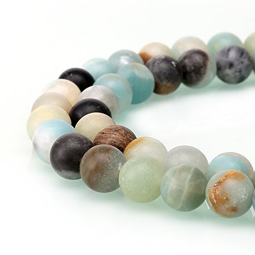 BRCbeads Matte Amazonite Gemstone Loose Beads Natural Round 8mm Crystal Energy Stone Healing Power for Jewelry Making