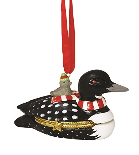 (Cape Shore Loon Duck Hinged Box Christmas Holiday Ornament Ceramic)