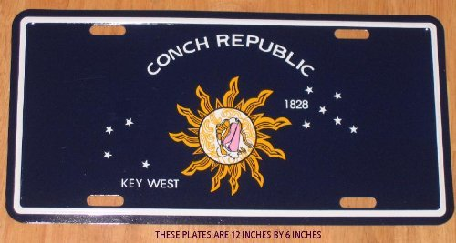 LICENSE PLATE CONCH REPUBLIC Flag / KEY WEST - - - - 12 X 6 Inches -