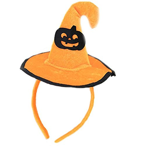Good Ideas For Halloween (Halloween Headband,Pumpkin Hair Hoop Skull Hair Clasp Spider/Bat/Orange Witch Hat Hair Band Cosplay Headdress for Kids Adults Party Decoration (Pumpkin))