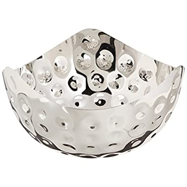 Elegance Bolt Hammered 10-1/2-Inch Triangular Single Wall Stainless Steel Serving Bowl