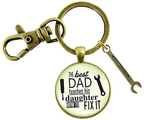 The Best Dad Teaches His Daughter How to Fix It Keychain Mens DIY Mechanic Key Ring Tool Wrench Charm