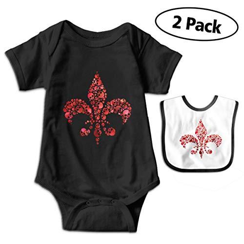 (Skull Fleur De Lis Baby Boys' Short-Sleeve Organic Cotton Bodysuit)