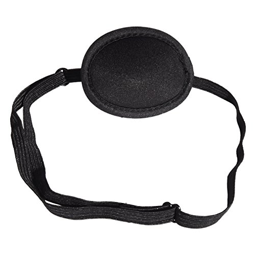 Hicarer Pirate Eye Patches Adjustable Eye Patch Kids Adults Concave Single Eye Mask for Amblyopia Lazy Eye Recovery Eye, Black (2.52 x 2.17 Inches)