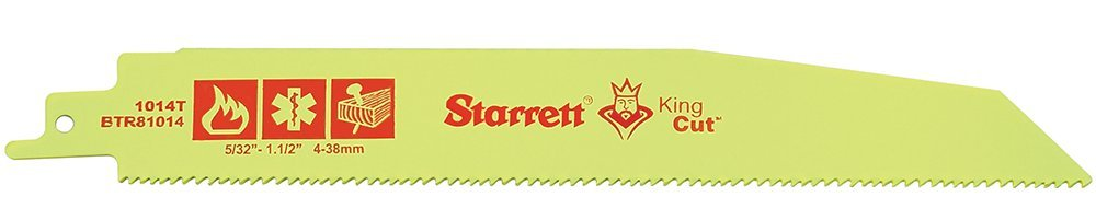 Starrett BTR81014-50 Bi-Metal Tapered King Cut Fire, Rescue and Demolition Reciprocating Blade, 0.063'' Thick, 10/14 TPI, 8'' Length x 1'' Width (Pack of 50)
