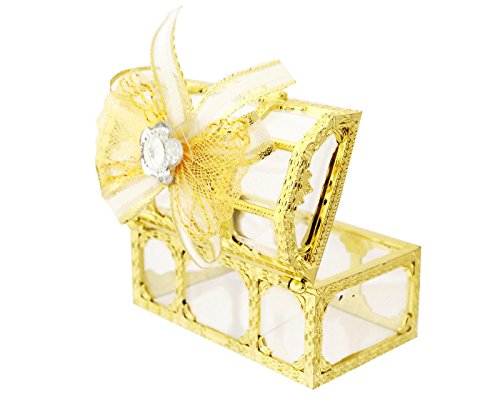 Ben Collection 3″ Treasure Chest Ribbon Bow Favor Box – Pack of 12 Wedding Party Favor (Gold)