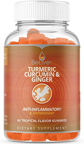 Turmeric Curcumin with Ginger Gummies Supplement for Anti Inflammatory, Antioxidants, Allergy Relief. Vegetarian Friendly, All Natural, Kosher & Halal Certified 60 Count