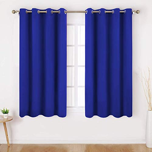 (HOMEIDEAS Blackout Curtains - 2 Panels Royal Blue Room Darkening Curtains/Drapes, Thermal Insulated Solid Grommet Window Curtains for Bedroom & Living Room, 52 x 45 Inches)