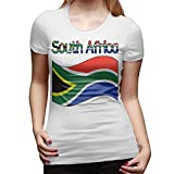 ZGYQR Women's Summer Fashion South Africa-1 Casual Floral Print Cute Contracted Tops Short Sleeve T-Shirt