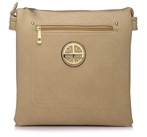 Big Handbag Shop - Bolso de asas de piel sintética para mujer Design 3 - Beige
