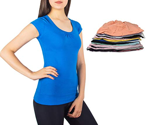 Sexy Basics Women's 6 Pack Round Neck Cotton Stretch Spandex Short Sleeve T Shirt -Assorted Colors (Medium, 6 Pack - Grab Bag Assorted Solid Colors)