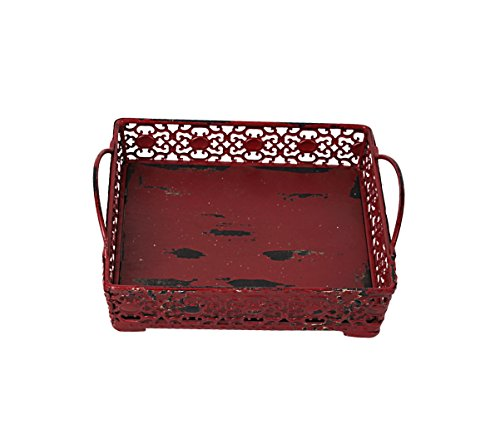 Vintage Antique Design Decorative Metal Rectangle Serving Tray With 2 Handles (Burgundy-Small) (Metal Decorative Design)