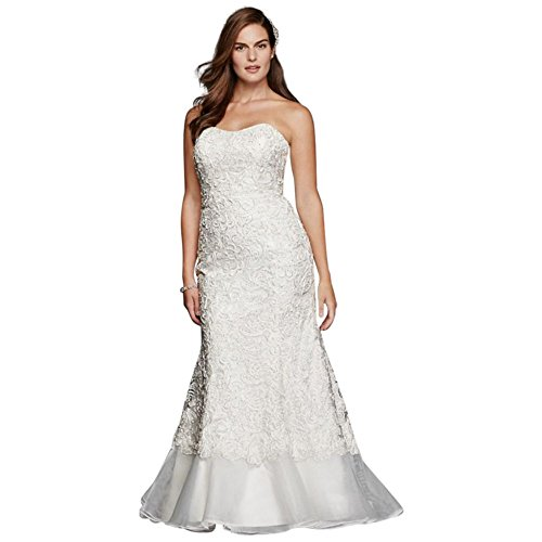 bd14d4782e9 Plus Size Lace Over Charmeuse Gown with Soutache Detail Style 9SWG400