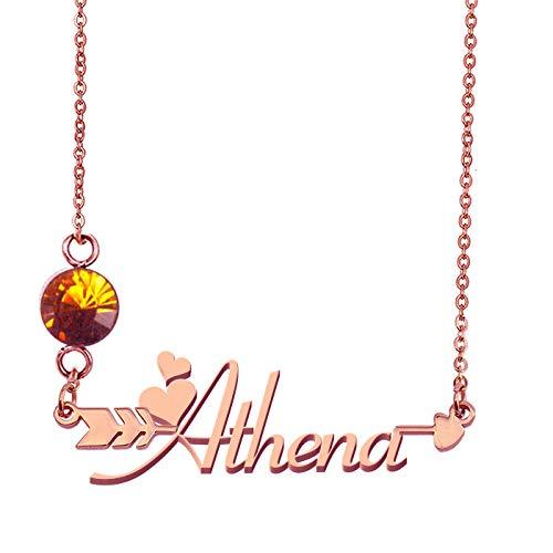 HUAN XUN Custommized Arrow Name Birthstone Necklace Athena