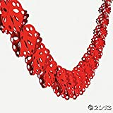 2 Pkgs 9' Tissue HEART SHAPED GARLAND (18 feet total)/Valentine's Day PARTY DECOR/Decorations/RED HEARTS/Wedding/BRIDAY SHOWER/ENGAGEMENT