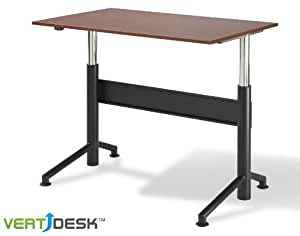 "Vertdesk™ 30"" x 60"" Electric Adjustable Height Desk (Cherry with Black Base)"