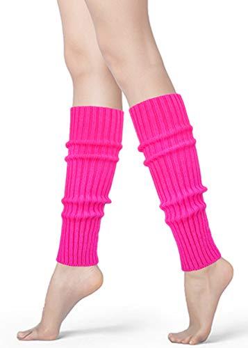 Womens 80s Neon Ribbed Knit Crochet Dance Yoga Leg Warmers Long Socks (Rose(1 pair))]()