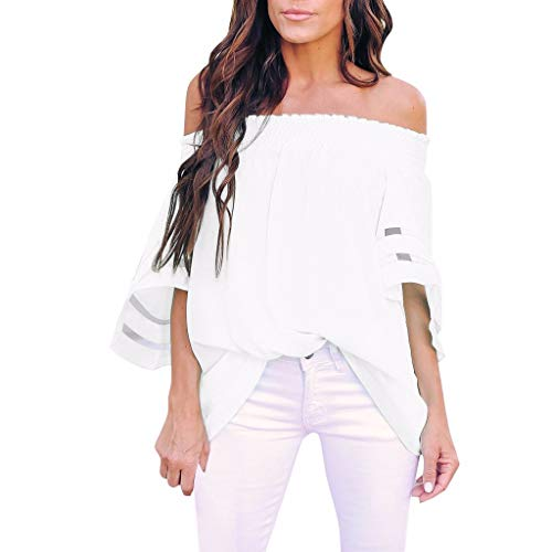 FANFU Women's Off The ShoulderMesh Panel Blouse 3/4 Bell Sleeve Casual Loose Top Shirt (Take Off Your Blouse And Your Underpants)