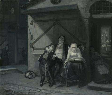 - Oil Painting 'Sabbath Rest (Sabbath-Ruhe Auf Der Gasse), 1866 By Moritz Daniel Oppenheim' Printing On Perfect Effect Canvas , 20x24 Inch / 51x60 Cm ,the Best Kids Room Artwork And Home Gallery Art And Gifts Is This Beautiful Art Decorative Prints On Canvas