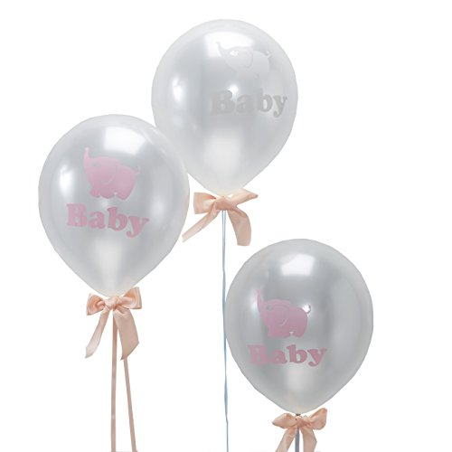 Ginger Ray Little One Baby Elephant Shower Pearlised Balloons, (Elephant Balloons Baby Shower)
