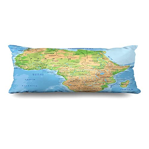 Ahawoso Zippered Body Pillow Cover 20x60 Inches African High Detailed Africa Physical Map Labeling Abstract Continent Madagascar South Relief Atlas Decorative Cushion Case Home Decor Pillowcase (Physical Geography Of Africa South Of The Sahara)
