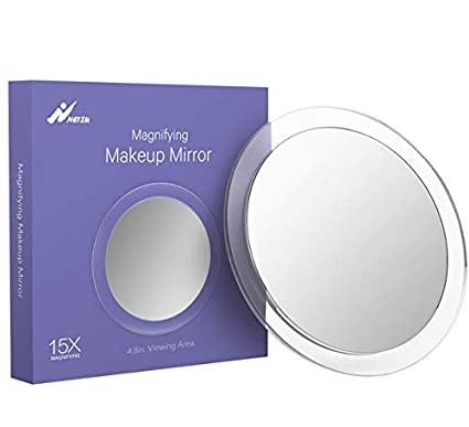 Portable Makeup Mirror with Acrylic Frame for Tweezing Easy Mounting for Bathroom Blackhead 4.8-Inch Viewing Area Blemish Removal 15X Magnifying Suction Cups Mirror